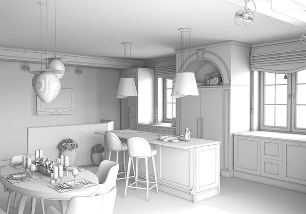 Visualization of modern residential interior design 3d illustration cg render