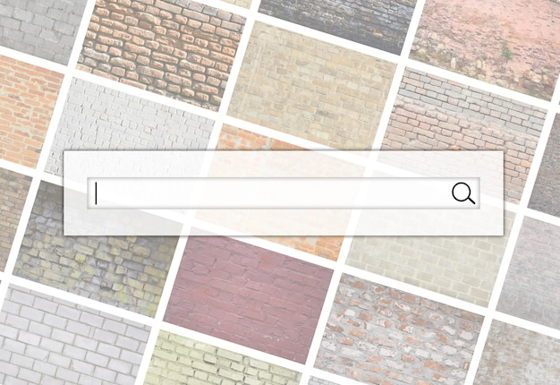 Visualization of the search bar on the background of a collage of many pictures with fragments of brick walls