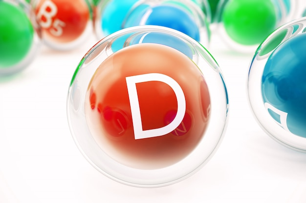 비타민 d, 유기 물질 그룹, 식품 첨가물, 절연, 흰색, 3d 렌더링