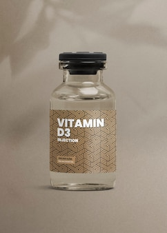 Vitamin d3 injection glass bottle with luxurious label for health and wellness product packaging