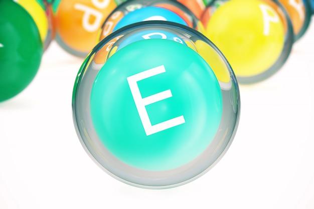 비타민 e, 유기 물질 그룹, 식품 첨가물, 절연, 흰색, 3d 렌더링