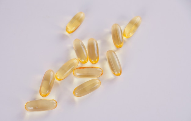 Vitamin e or omega 3 capsules for healthy nutrition and beauty