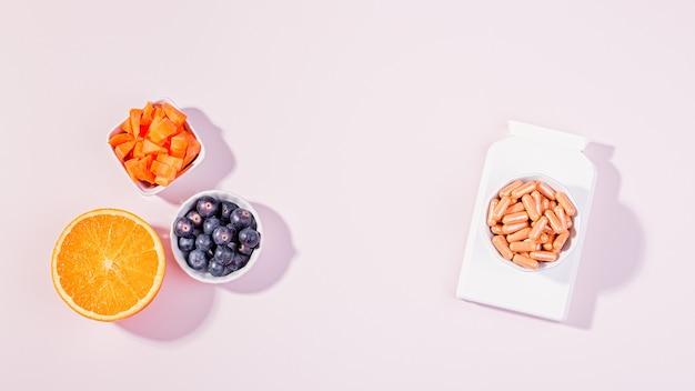 健康な目のためのビタミンとサプリメント、ピンクのテーブルトップで視力を良くするためのビタミンを含む食品。良いビジョンコンセプト、フラットレイ、トップビューを維持する方法