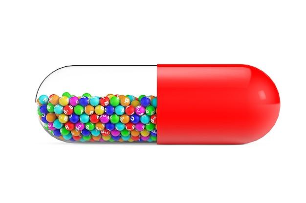 Сфера витаминов в медицинской таблетке на белом фоне