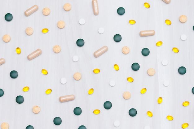 Vitamins, supplements, healthy life concept.
