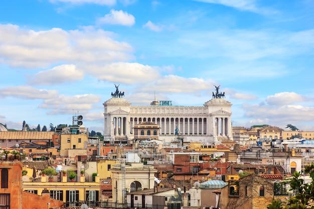 ヴィットーリオアーノまたは祖国の祭壇、ローマ、ボルゲーゼ公園からの空撮。
