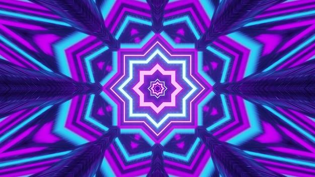 생생한 3d 그림 4k uhd 추상 시각적 배경 디자인에는 만화경 기하학적 꽃 모양의 장식이 조명 효과가 있는 밝은 네온 색상으로 장식되어 있습니다.