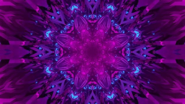 ピンクと青の色の幾何学的な花の形で明るいネオン照明と鮮やかな3dイラスト抽象芸術の視覚的背景