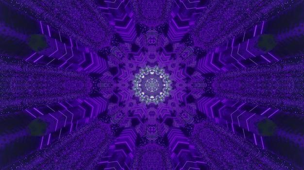 마법의 터널의 착시를 만드는 빛나는 실버 센터와 대칭 장식 보라색 눈송이의 모양에 생생한 3d 그림 추상적 인 배경