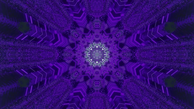 Vivid 3d illustration abstract background in shape of symmetric ornamental purple snowflake with glowing silver center creating optical illusion of magic tunnel