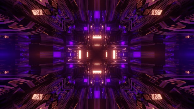 鮮やかな3dイラストは、輝く幾何学的なネオンビームと光の反射を備えた抽象的な視覚的な無限のトンネルループ