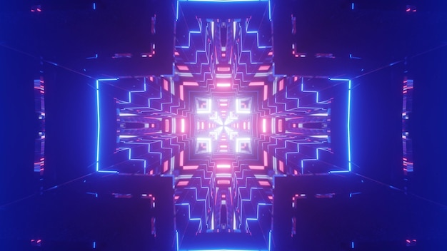 Vivid 3d illustration of colorful neon lines forming cross shaped ornament in abstract blue tunnel
