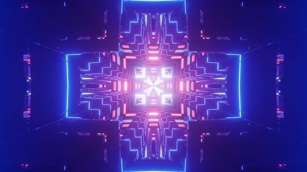 Яркая трехмерная иллюстрация красочных неоновых линий, образующих крестообразный орнамент в абстрактном синем туннеле