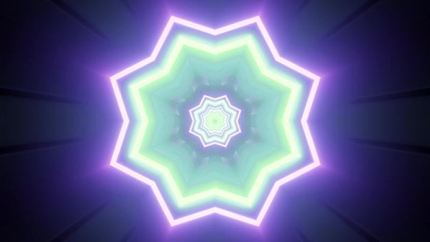 未来的なデザインのための青と緑のネオン色の花の形のきらめく幾何学模様の鮮やかな3dイラスト