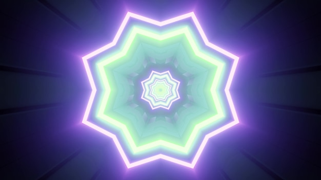 Vivid 3d illustration with glimmering geometric pattern in shape of flower in blue and green neon colors for futuristic design
