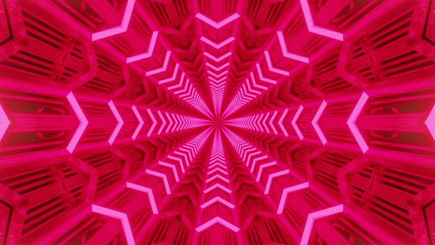 Vivid abstract art visual background with symmetric geometric pink neon lines forming flower shaped ornament inside of endless tunnel