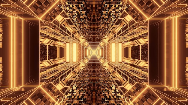 Vivid abstract psychedelic corridor for background with gold and brown colors