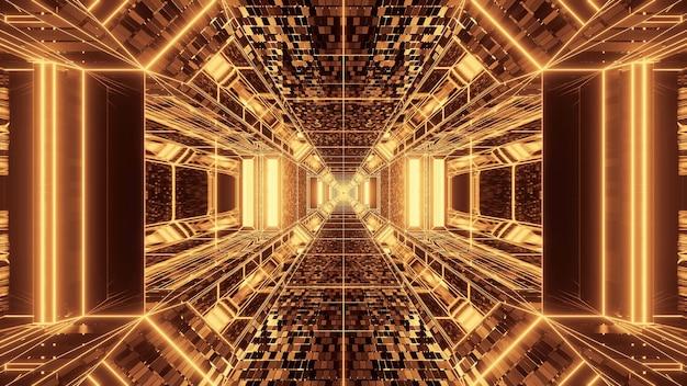 Яркий абстрактный психоделический коридор для фона с золотыми и коричневыми цветами