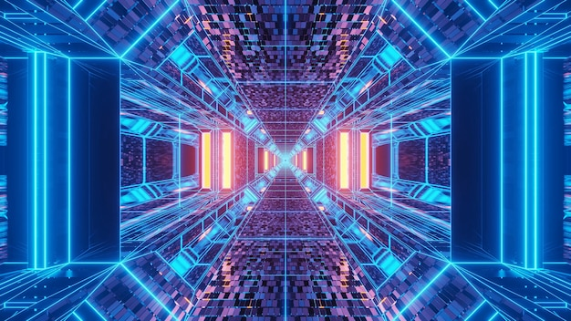 Vivid abstract psychedelic corridor pattern for background with blue and purple colors
