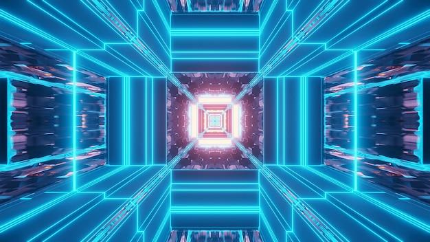 Яркий абстрактный психоделический узор коридора для фона с синими и фиолетовыми цветами