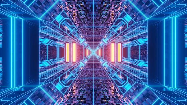 青と紫の色の背景の鮮やかな抽象的なサイケデリックスの回廊パターン