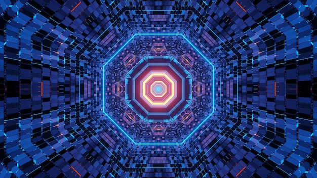 Vivid abstract psychedelic octagon corridor pattern for background with blue and purple colors