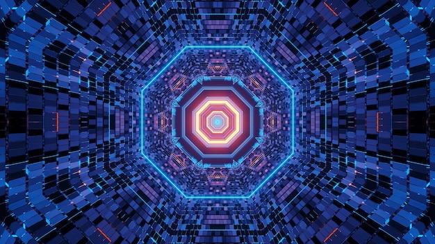 파란색과 보라색 색상으로 배경에 대한 생생한 추상 환각 팔각형 복도 패턴
