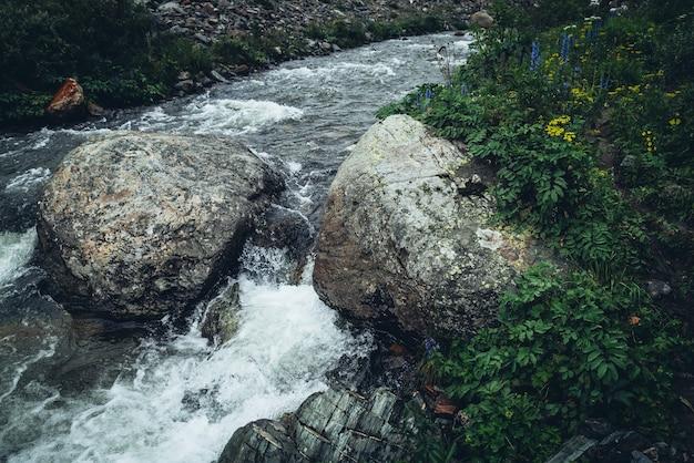 野生の茂みの近くの強力な山川の澄んだ水に大きな岩がある鮮やかな美しい風景。マウンテンクリークの透明な水と山の野生の植物相の急流のカラフルな風景。