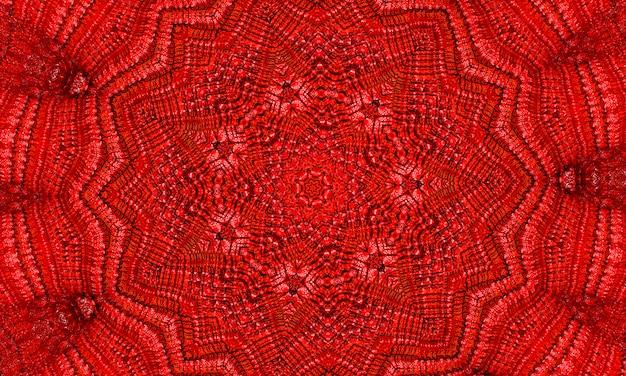 鮮やかな血の赤いフラクタル万華鏡、創造的なグラフィックデザインのためのデジタルアートワーク。 Premium写真