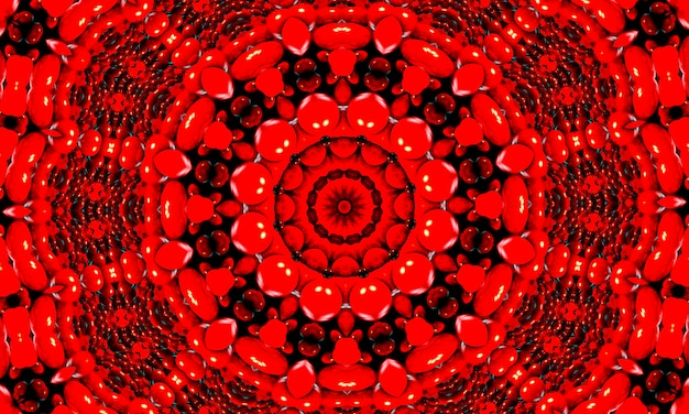 생생한 붉은색 프랙탈 만화경, 창의적인 그래픽 디자인을 위한 디지털 아트웍