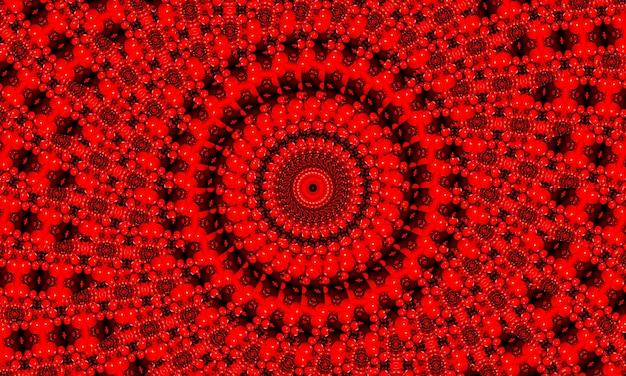 鮮やかな血の赤いフラクタル万華鏡、創造的なグラフィックデザインのためのデジタルアートワーク