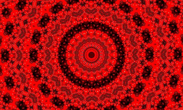 鮮やかな血の赤いフラクタル万華鏡、創造的なグラフィックデザインのためのデジタルアートワーク。