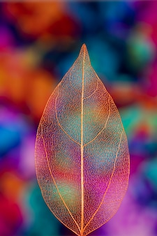 Vivid colored transparent autumn leaf