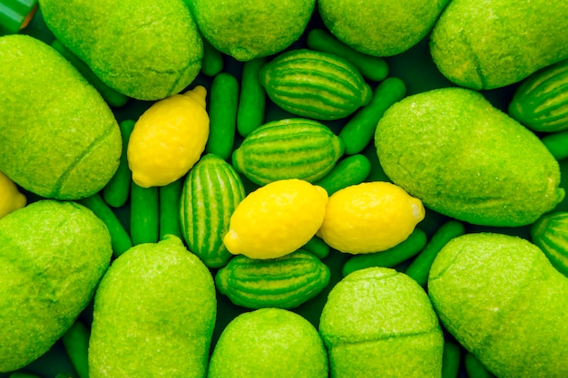 Vivid green and yellow candies