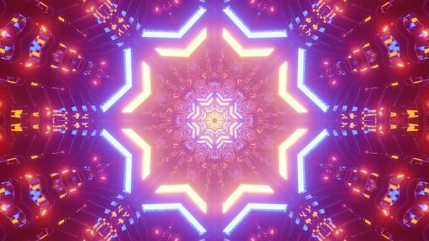 Vivid illustration of colorful neon lights shimmering and forming star shaped ornament inside abstract futuristic tunnel