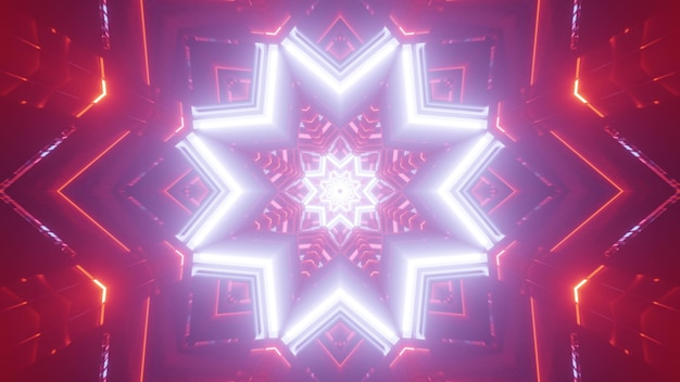 Vivid kaleidoscopic abstract 3d illustration of glowing white neon geometric star shaped pattern with glowing red backdrop