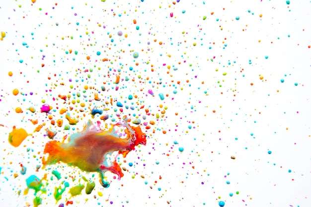 Vivid mix of paint droplets on white