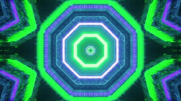 Vivid octagon shaped tunnel 4k uhd 3d illustration