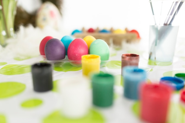 Vivid paints for coloring easter eggs