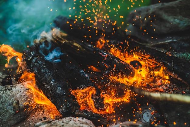 Яркие тлеющие дрова сгорели в огне крупным планом