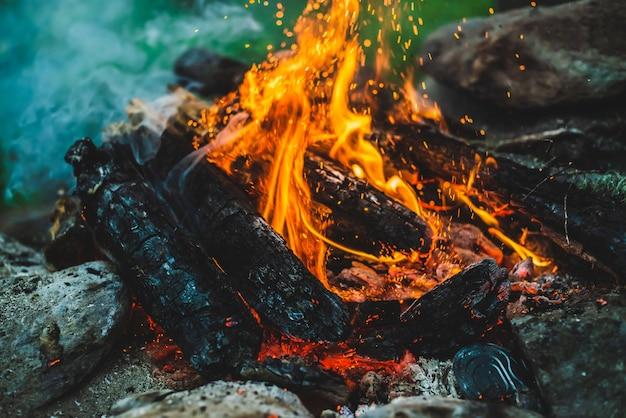 鮮やかなくすぶりの薪が火のクローズアップで燃えました。