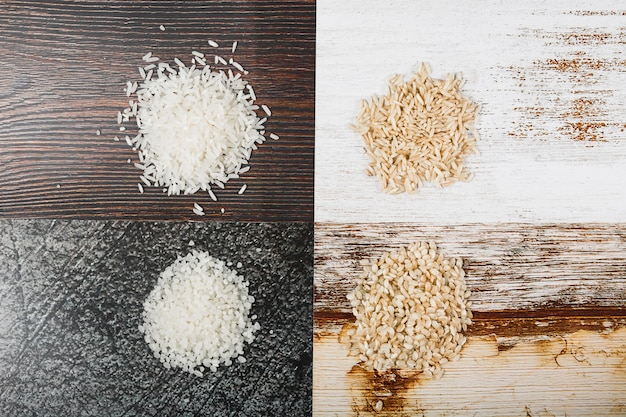 Vivid wooden background with variety of rice