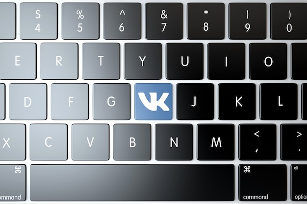 Vkontakte icon on laptop keyboard. technology concept