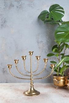 Vntage brass candelabrum for seven candles