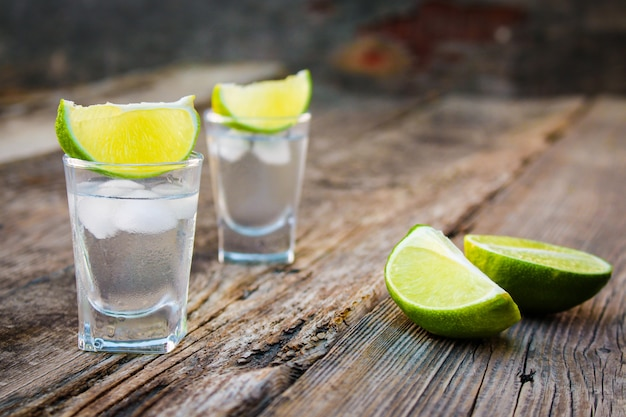 Vodka and lime slices