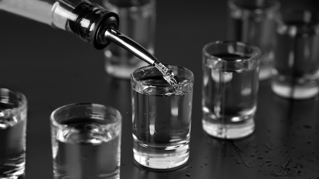 Vodka, rum, tequila, gin are poured into glasses at the bar.