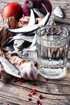 Vodka and salted sprat