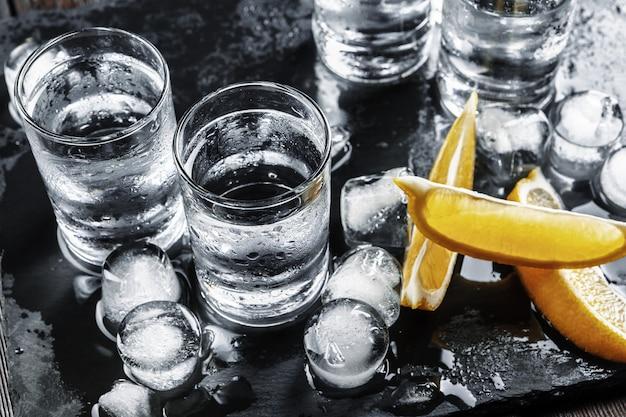 Vodka in shot glasses