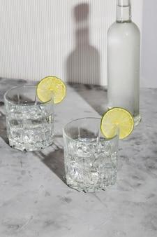 氷とライム2杯と白い背景のウォッカのボトルとウォッカ。影と日光の流行