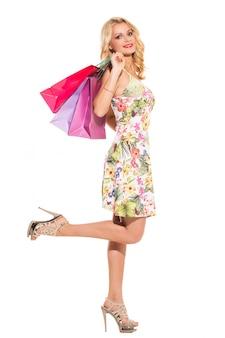 Vogue. красивая блондинка в милом платье